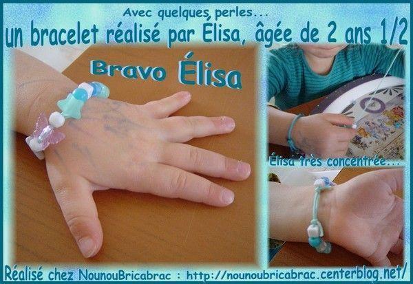 Bracelet réalisé par Élisa, âgée de 2 ans 1/2