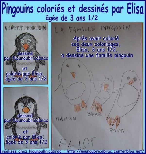 Pingouins coloriés-dessinés par Élisa, âgée de 3 ans 1/2