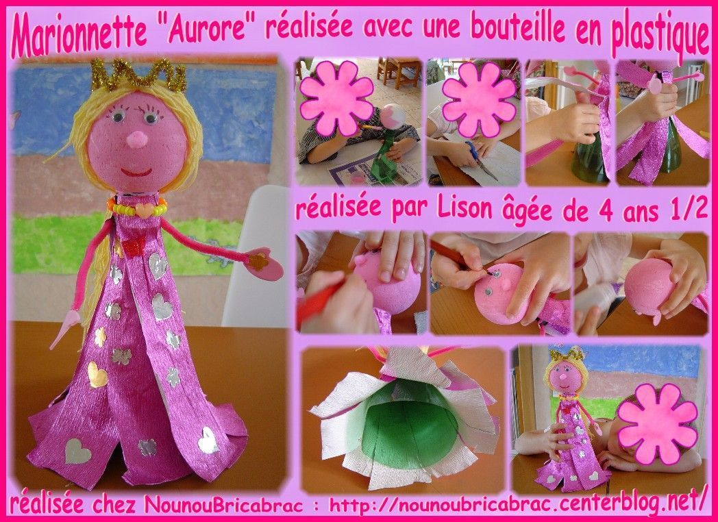 Marionnette *Aurore* ralise par Lison ge de 4 ans 1/2
