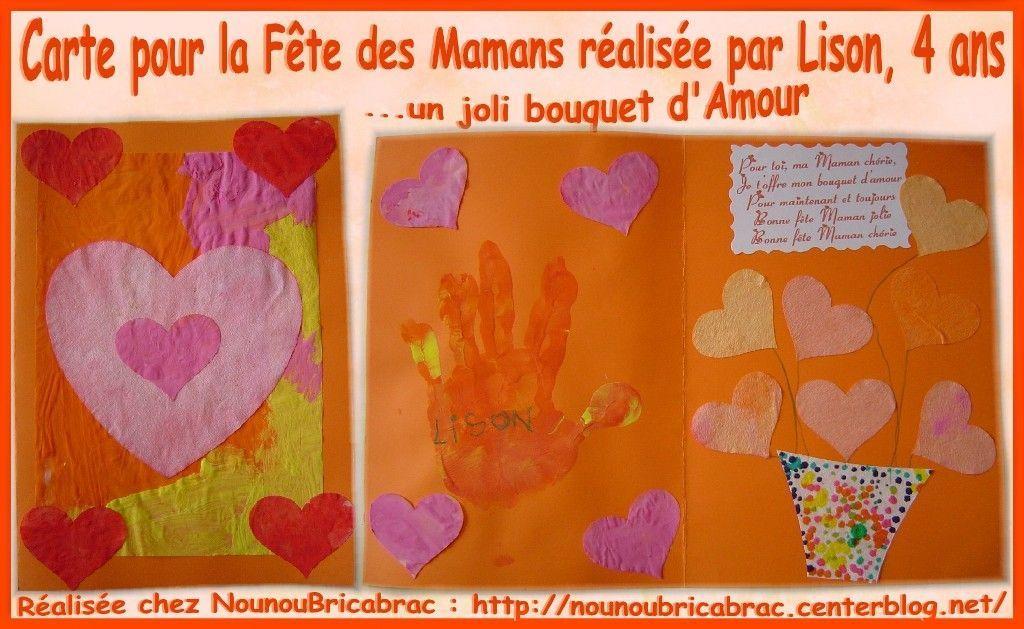 Carte pour la fête des Mamans... réalisée par Lison
