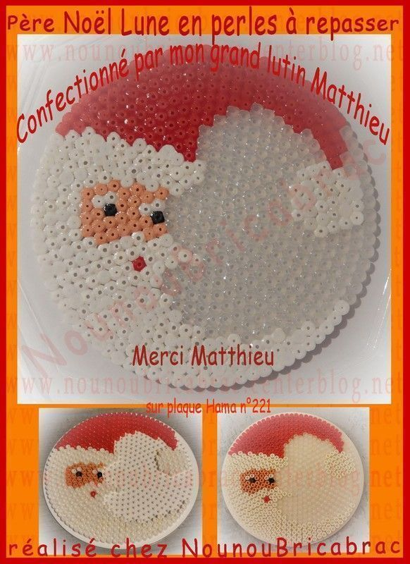 Père Noël lune en perles à repasser