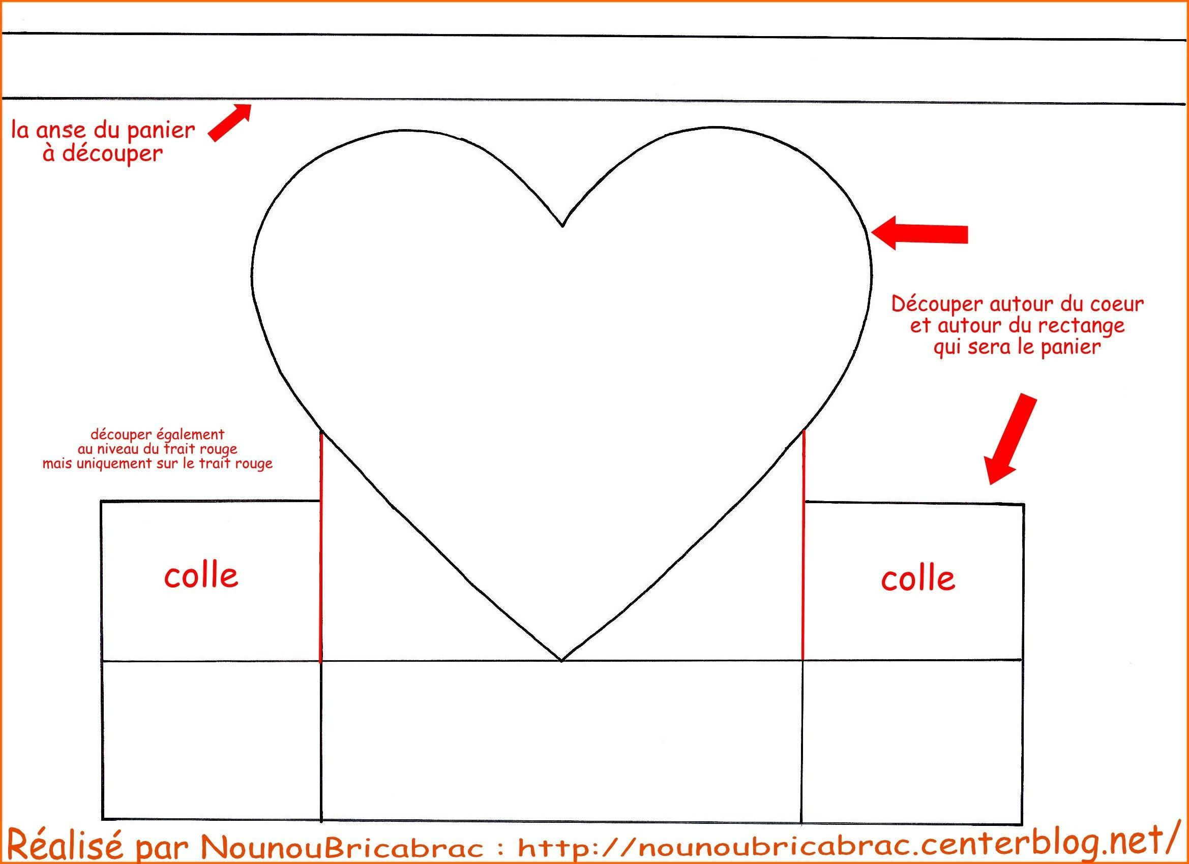 Panier en forme de coeur gabarit 1 avec la anse - Modele de coeur a decouper ...