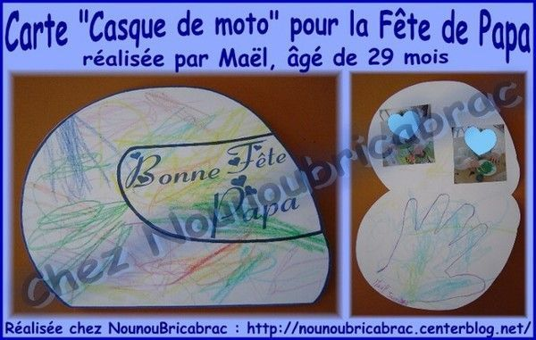 Carte *casque de moto* pour Papa... Mal, 2 ans 1/2