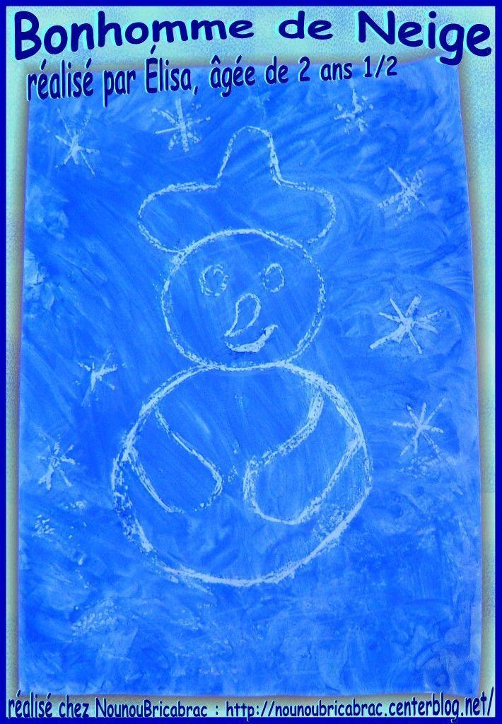 Bonhomme de Neige qui apparait... réalisé par Élisa, âgée de 2 ans 1/2