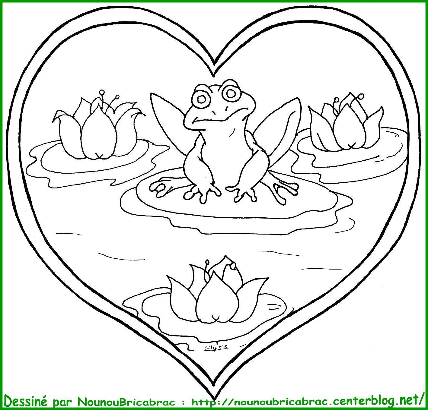 Grenouille coeur colorier - Grenouille a colorier ...