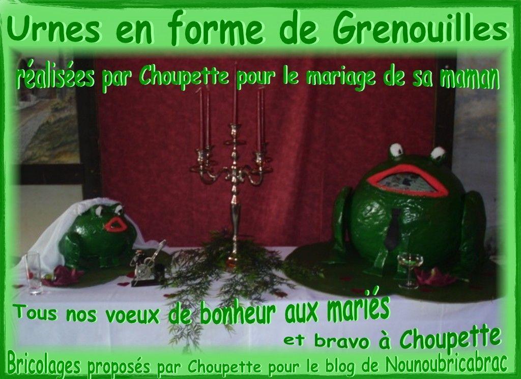 Urnes en forme de grenouilles réalisées par Choupette pour le mariage de sa Maman