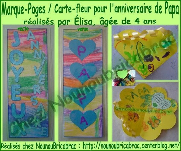 Marque-Pages et carte fleur pour Papa... Élisa, 4 ans