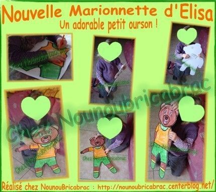 Marionnette *Nounours* ralise par lisa, 4 ans