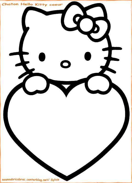 Chaton Hello Kitty Coeur...  colorier