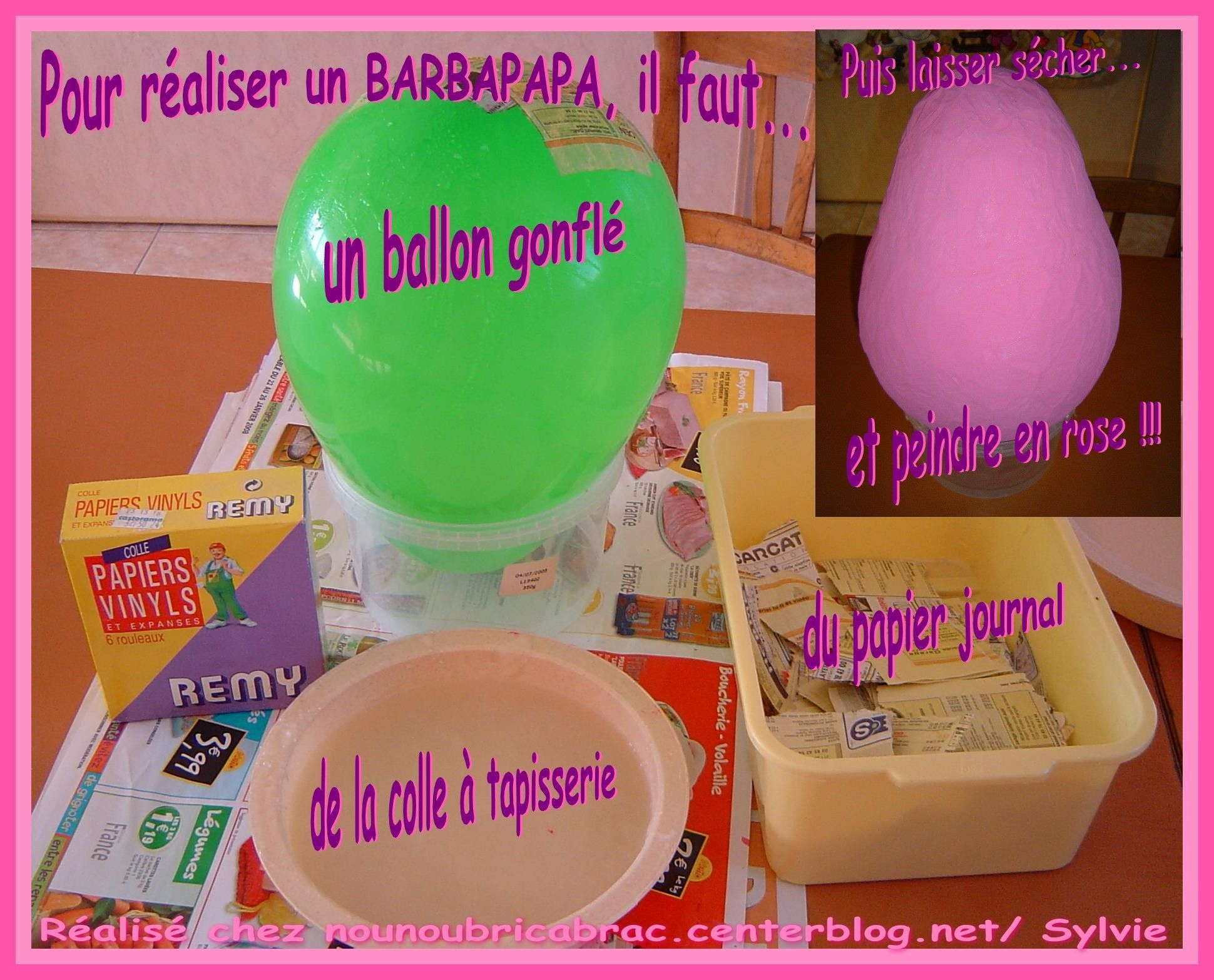 bricolages barbapapa realises en papier mache. Black Bedroom Furniture Sets. Home Design Ideas