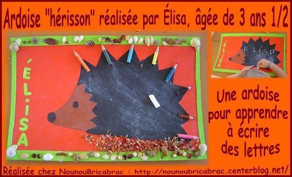 Ardoise *Hérisson*... réalisée par Élisa