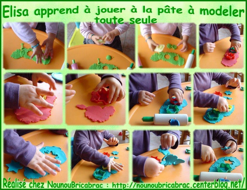 Élisa apprend à jouer à la pâte à modeler...