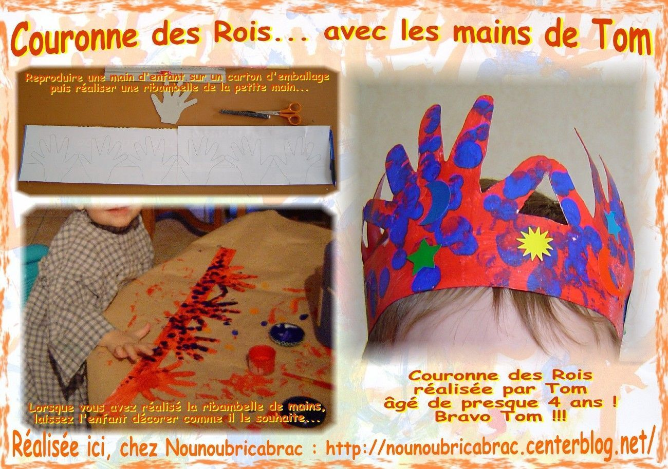 Couronne des Rois… avec des mains d'enfants / 4ème étape..... couronne de Tom