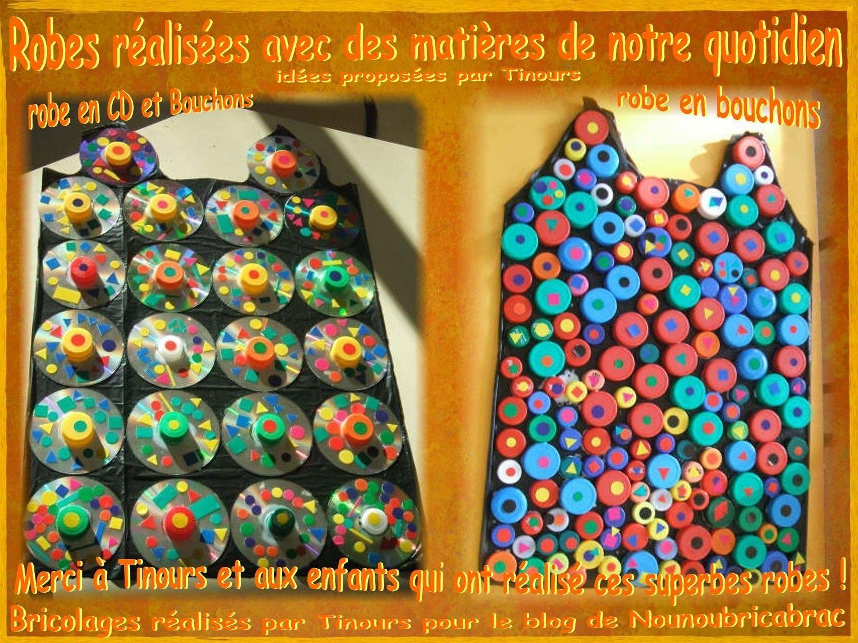 Robes réalisées avec des matières de notre quotidien : CD et Bouchons... Idées proposées par Tinours
