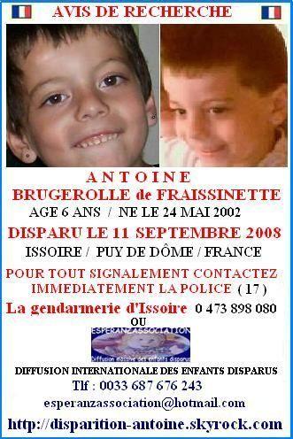DISPARITION d'ANTOINE BRUGEROLLE DE FRAISSINETTE : disparu le 11 septembre 2008 à Issoire, dép.63