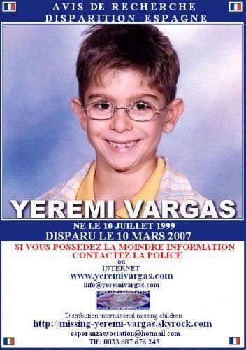AVIS DE RECHERCHE... YEREMI VARGAS DISPARU LE 10 MARS 2007