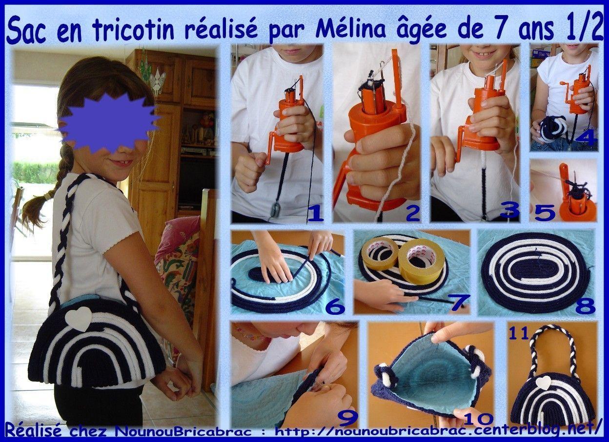 Sac en tricotin réalisé par Mélina, âgée de 7 ans 1/2