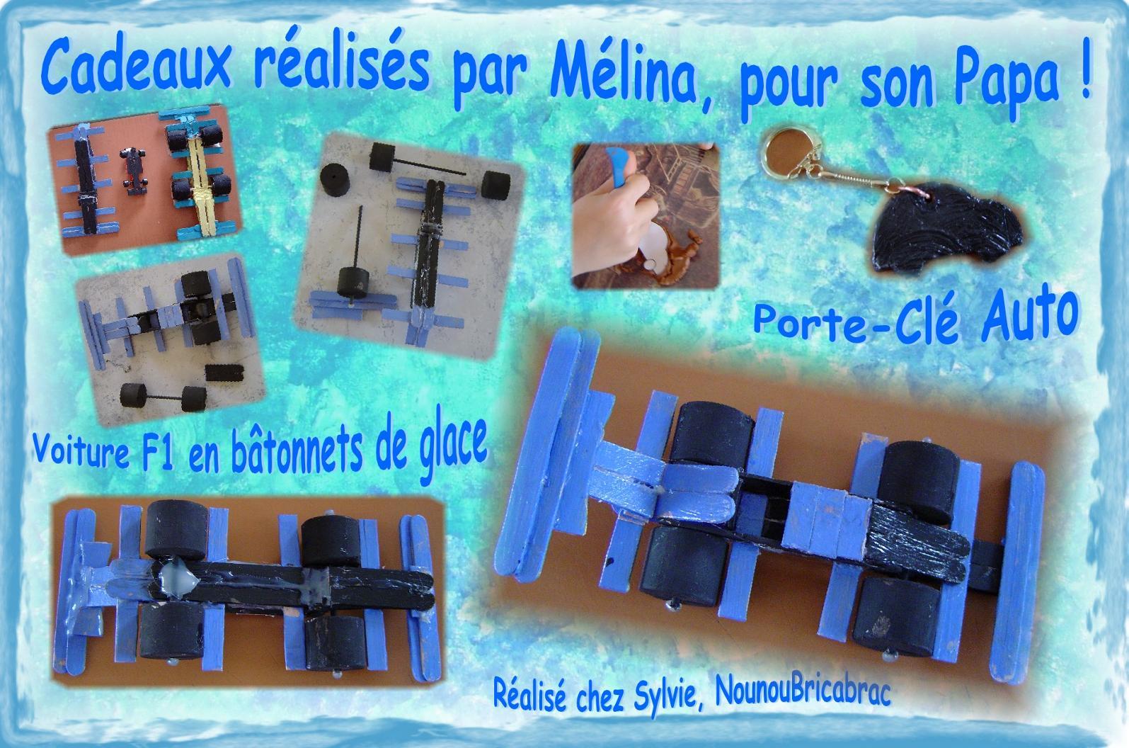 F1 en bâtonnets et Porte Clé... Cadeaux réalisés par Mélina !