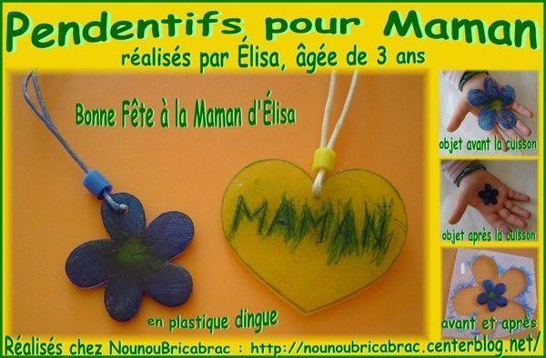Pendentifs pour Maman réalisés par Élisa, âgée de 3 ans