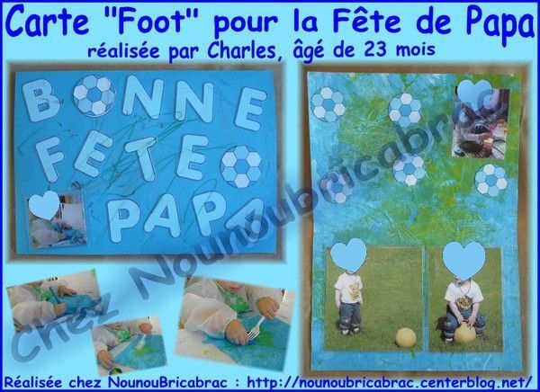Carte *Foot* pour la Fte de Papa... Charles, 23 mois