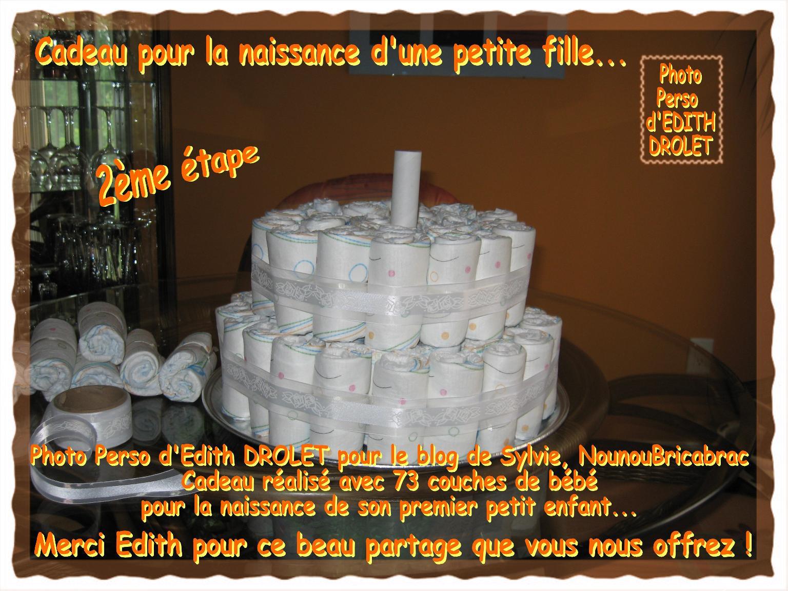 Gâteau - Cadeau pour la naissance d'une petite fille... 2ème étape, réalisé par Edith du Québec