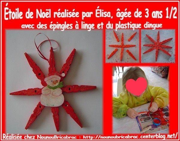 Étoile de Noël avec des épingles en bois... d'Élisa