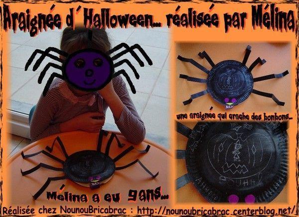 Araignée d'Halloween réalisée par Mélina, 9 ans