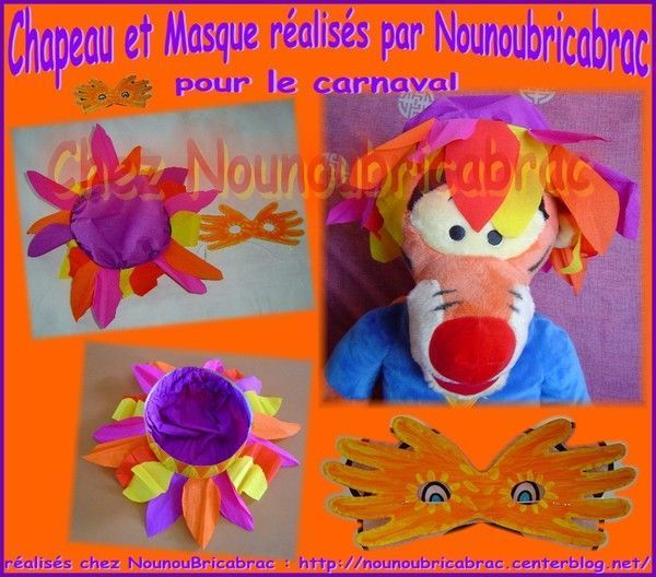 Chapeau et Masque réalisés par Nounoubricabrac