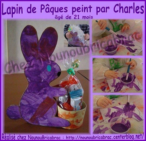 Lapin de Pâques peint par Charles, 21 mois