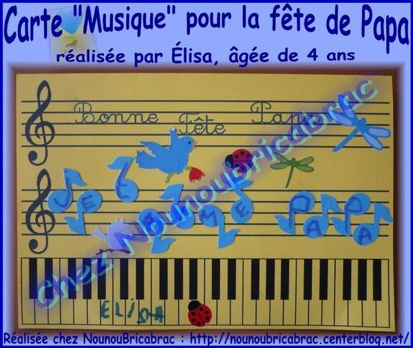 Carte *musique* pour la fte de Papa... lisa, 4 ans