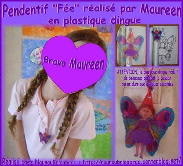 Pendentif Fée réalisé par Maureen, âgée de 6 ans