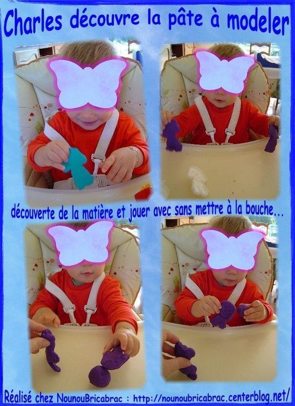 Charles, âgé de 14 mois découvre la pâte à modeler