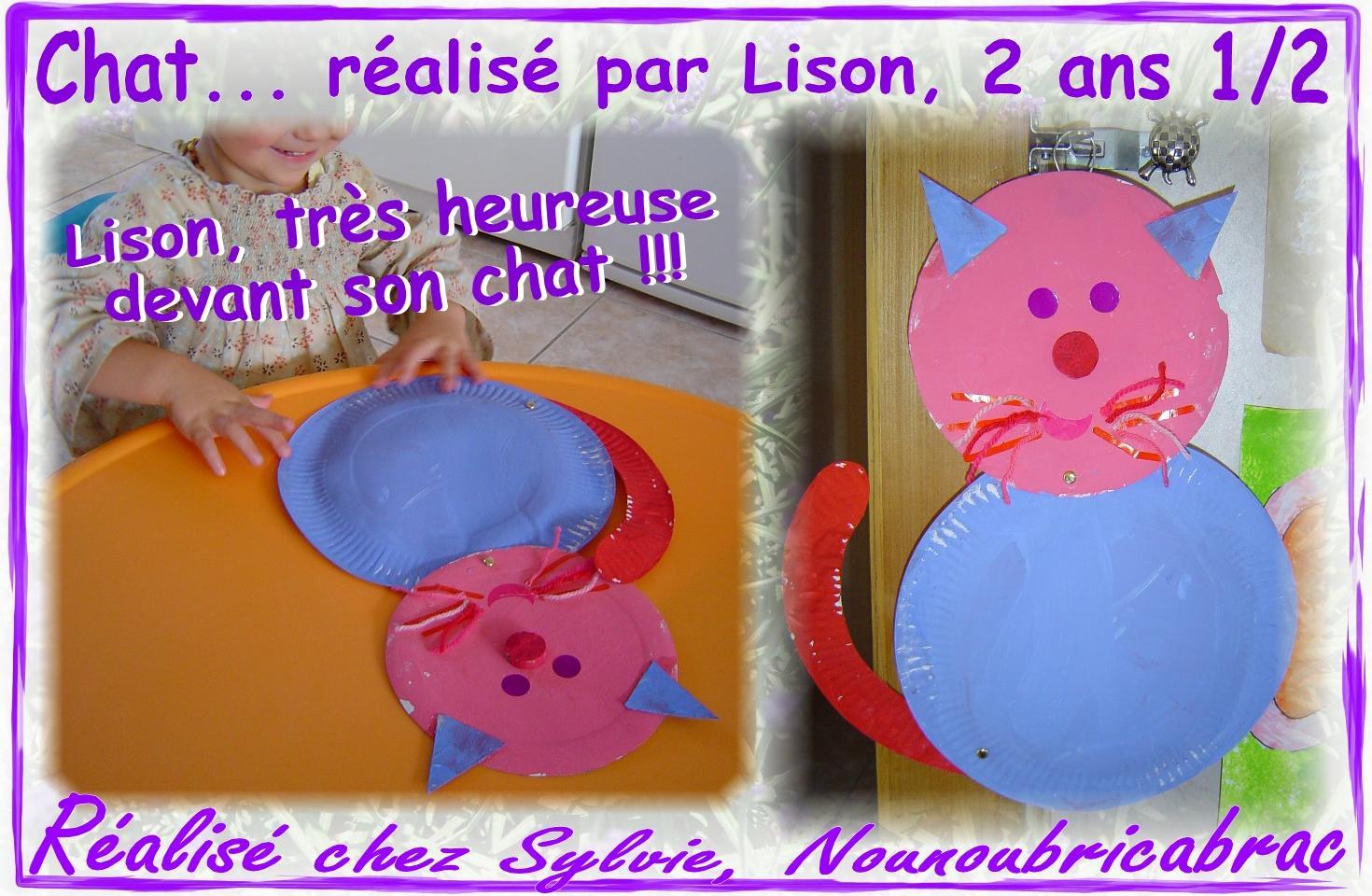 Chat avec 2 assiettes cartonnées, étape 4... Le Chat de Lison !
