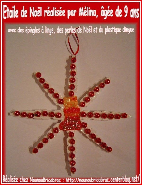 Étoile de Noël avec des épingles en bois... de Mélina