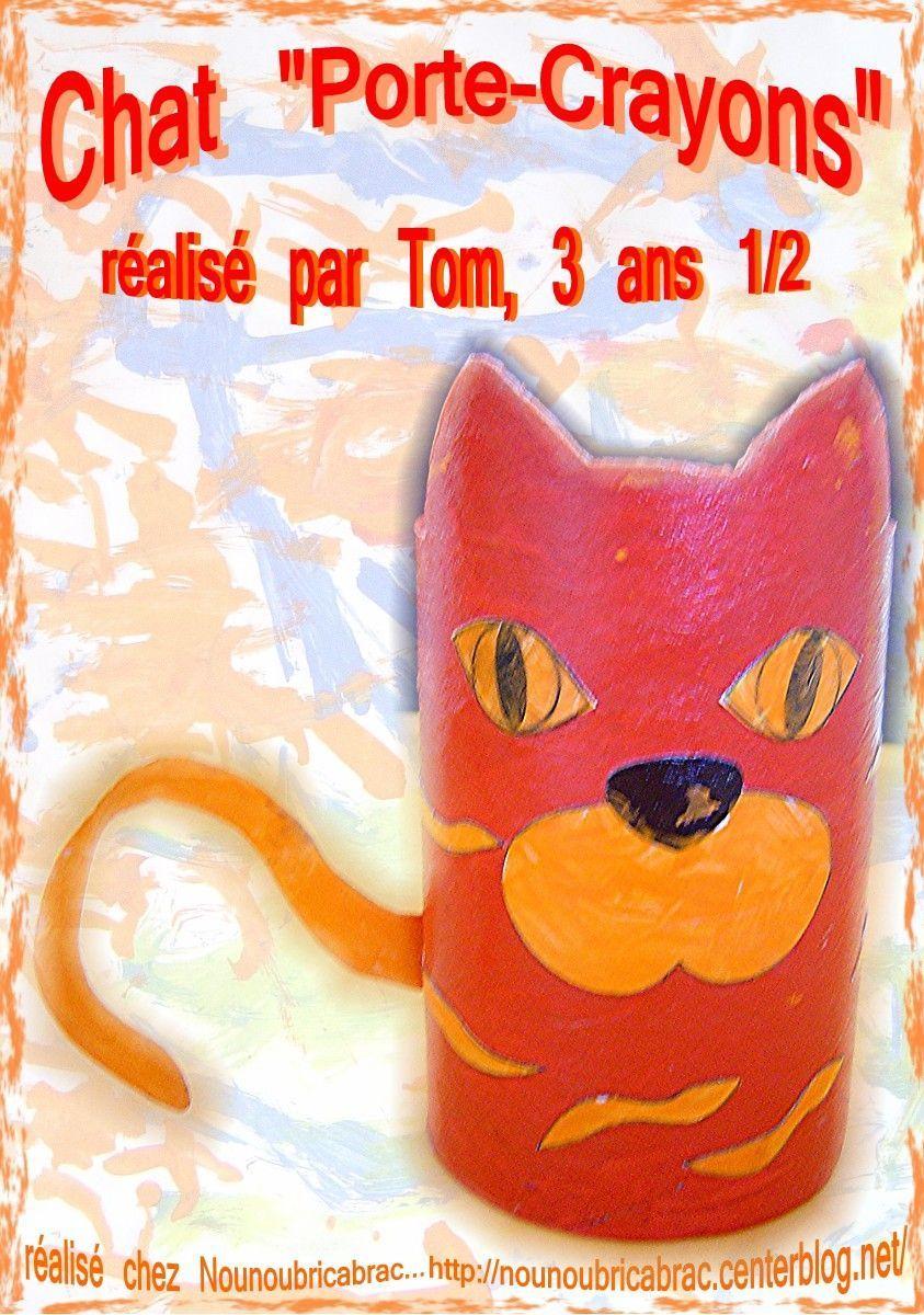 Chat Porte-Crayons... 2ème étape, réalisé par Tom, 3 ans 1/2