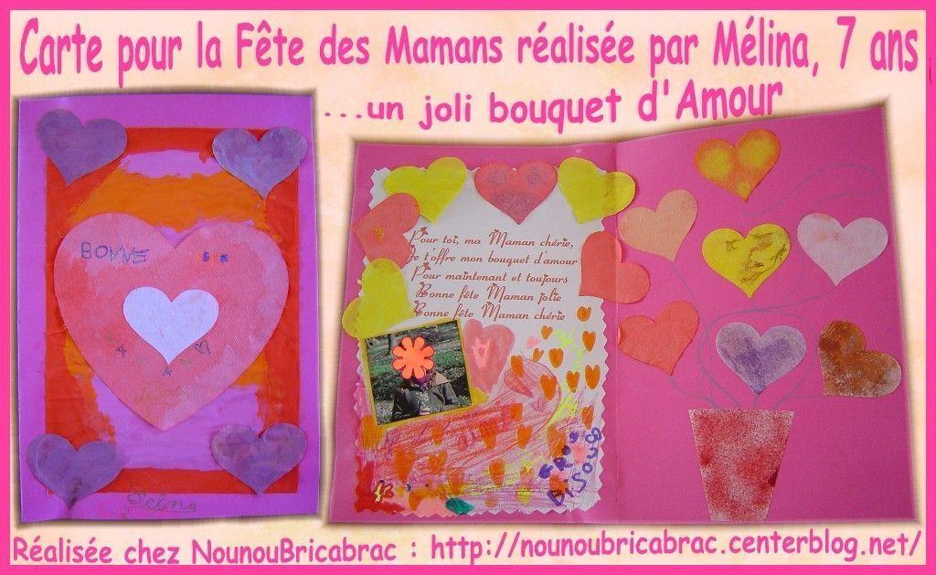 Carte pour la fête des Mamans... réalisée par Mélina