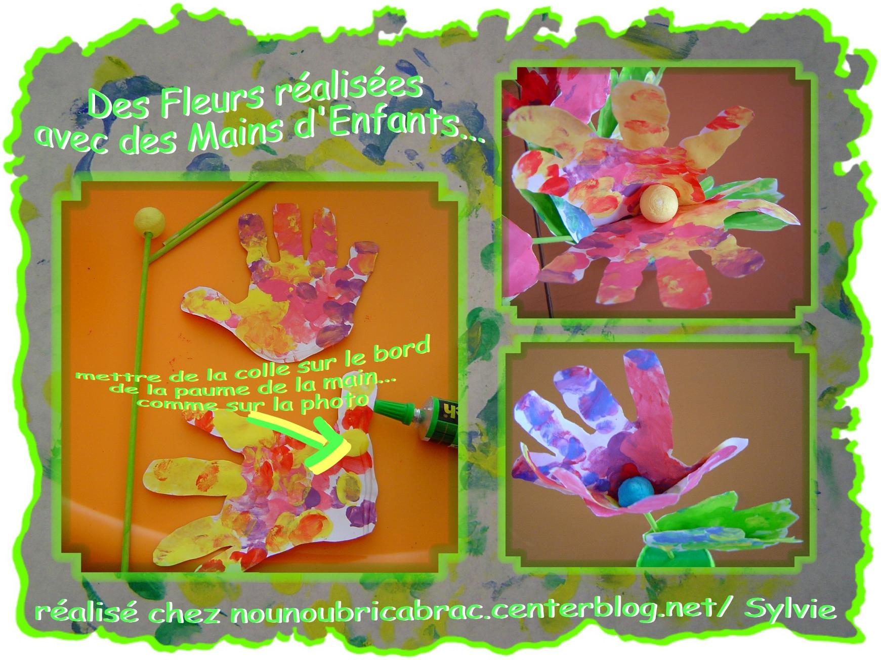 Des Fleurs réalisées avec des Mains d'Enfants...