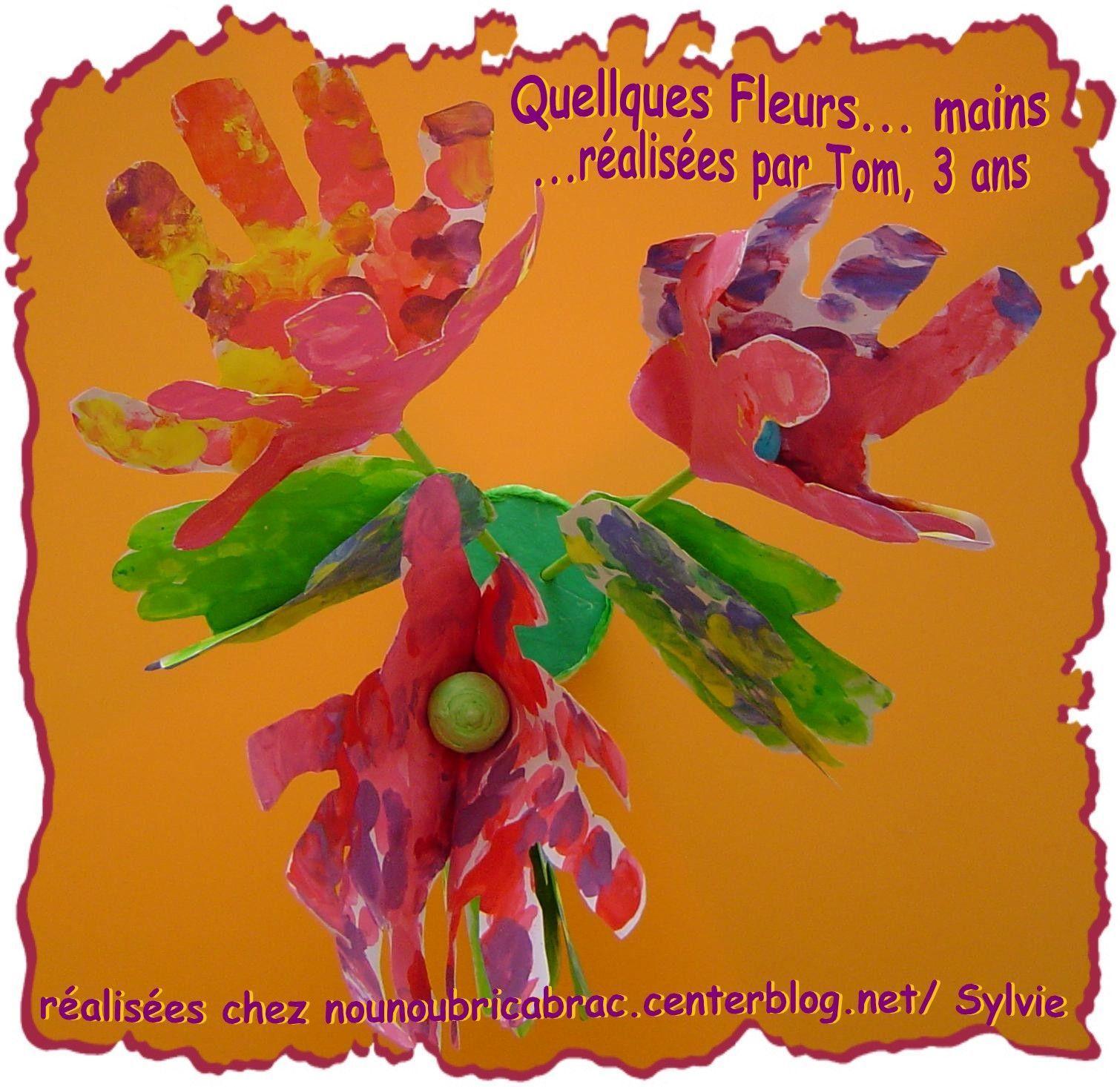Bouquet de fleurs-mains pour Maman fait  par Tom