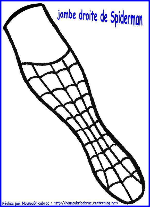 Marionnette Spiderman : sa jambe droite