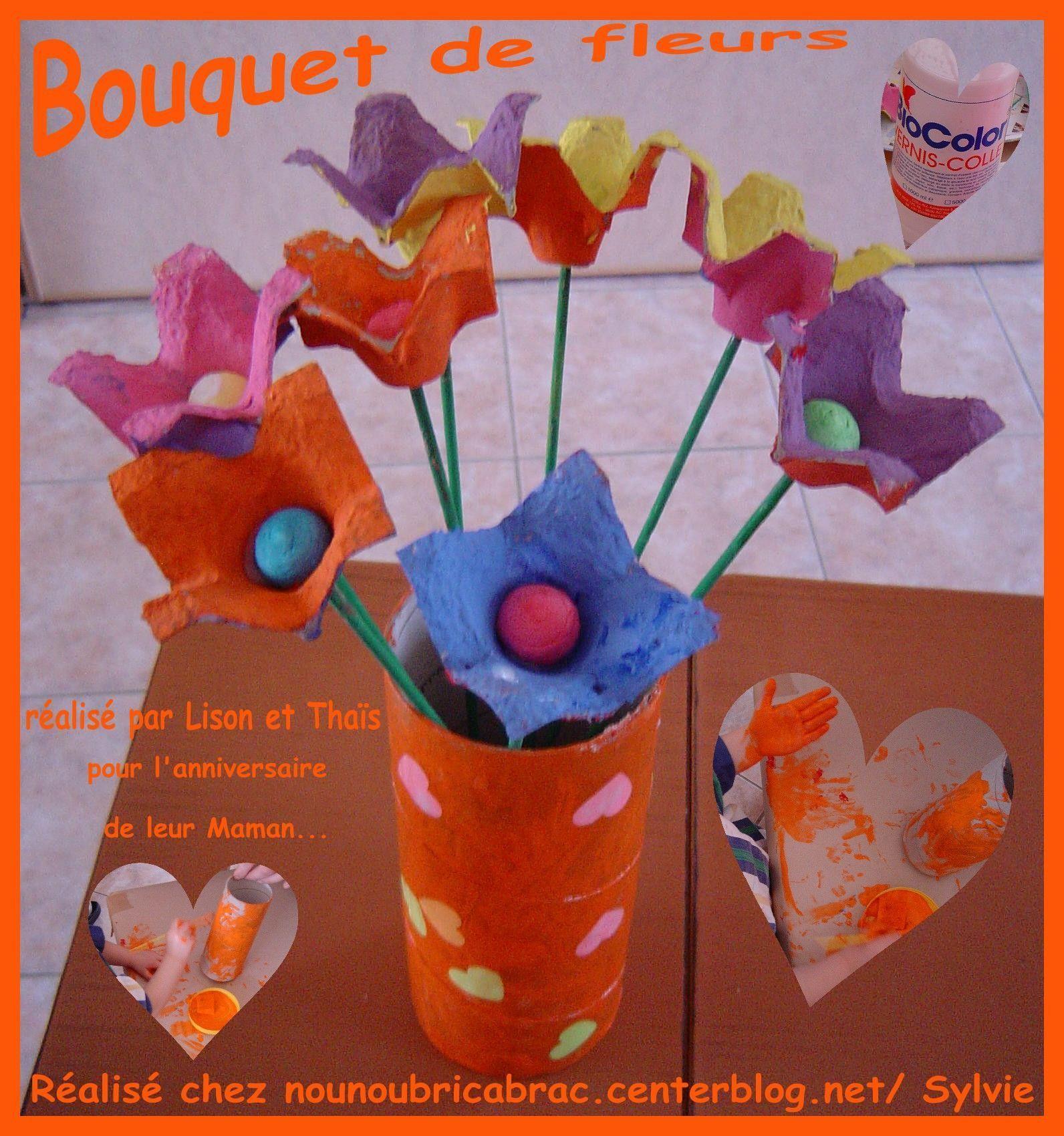 Bouquet de fleurs avec bo te oeufs 2010 fleur en carton d 39 oeuf - Que faire avec des boites d oeufs ...