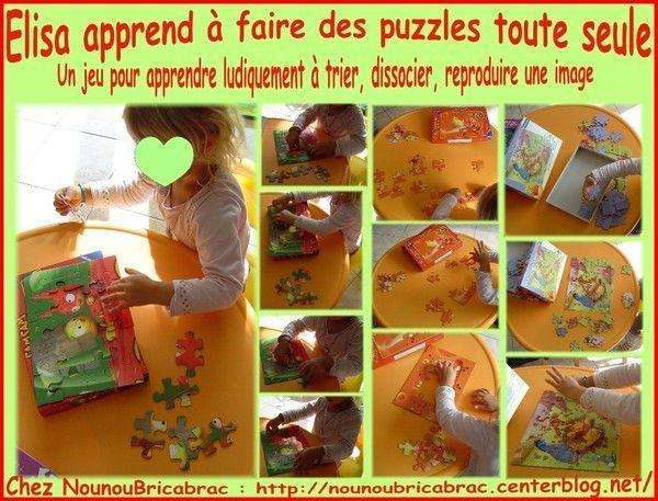 Élisa apprend à faire des puzzles toute seule