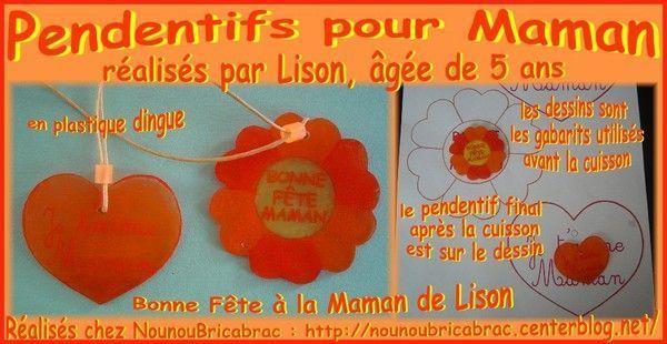 Pendentifs pour Maman réalisés par Lison, âgée de 5 ans