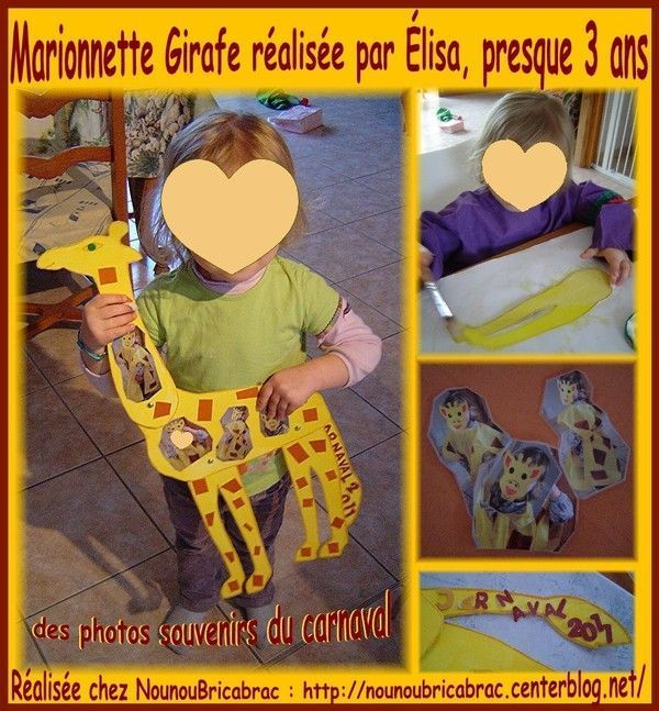Marionnette Girafe... ralise par lisa, presque 3 ans