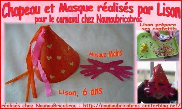 Chapeau et Masque réalisés par Lison, 6 ans