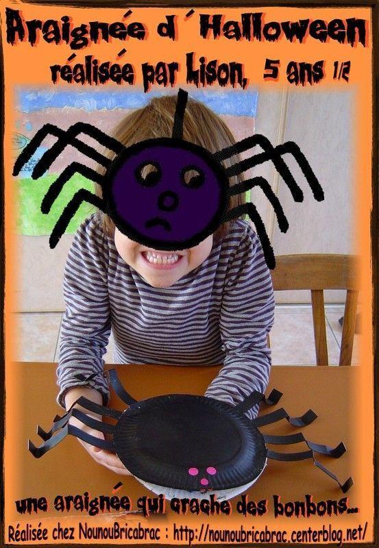 Araignée d'Halloween réalisée par Lison, 5 ans 1/2