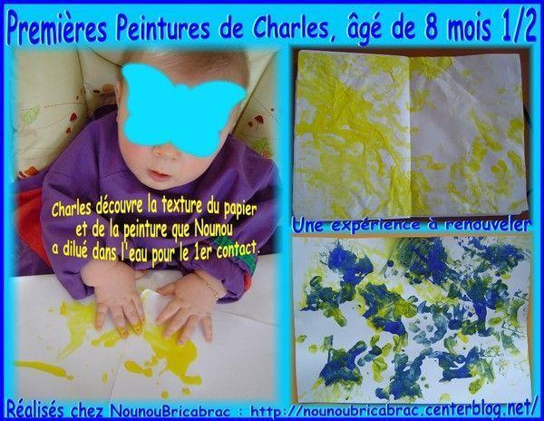 Première découverte avec la peinture pour Charles