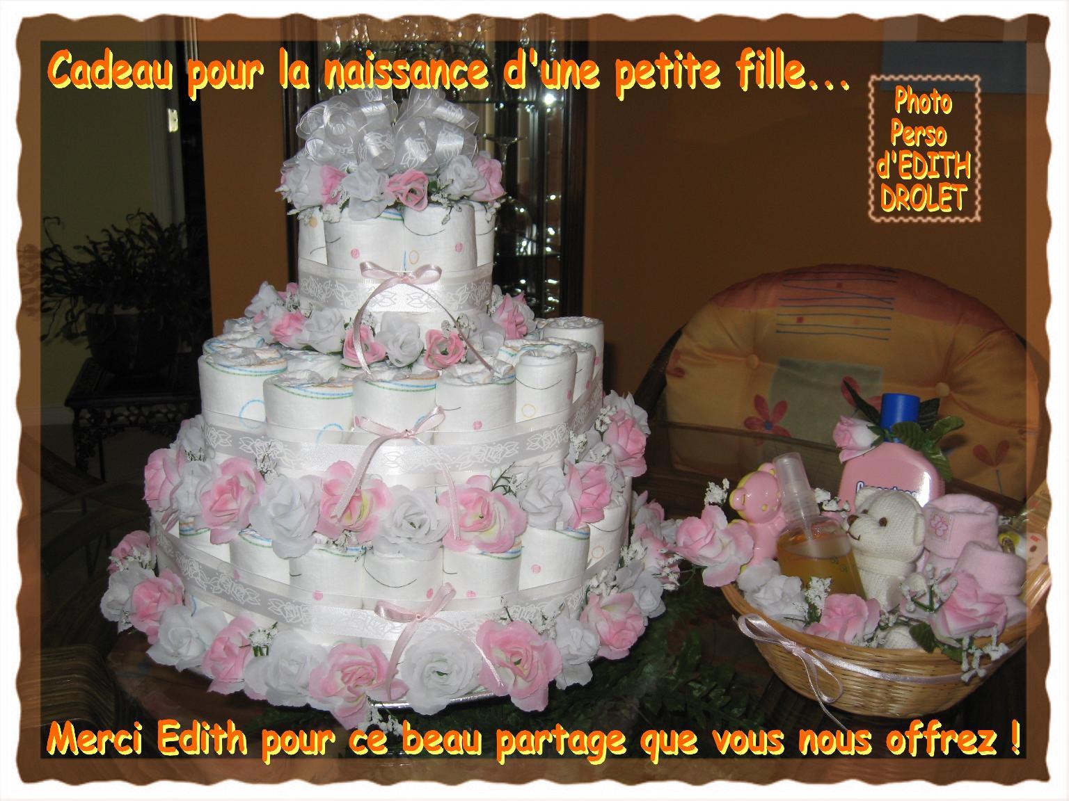 Gâteau - Cadeau pour la naissance d'une petite fille... 5e et dernière étape, réalisé par Edith
