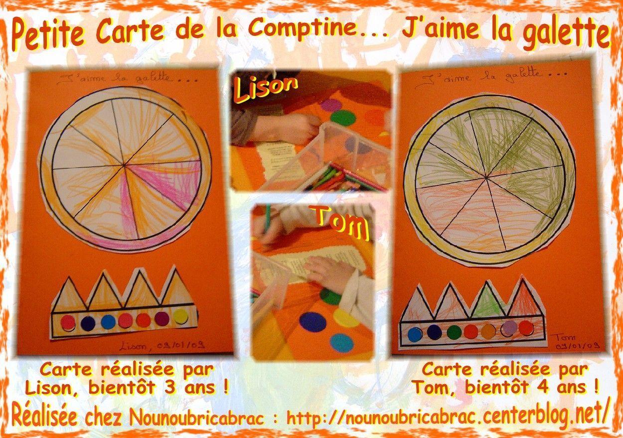 Cartes de Galette et Couronne avec Comptine réalisées par Lison et Tom