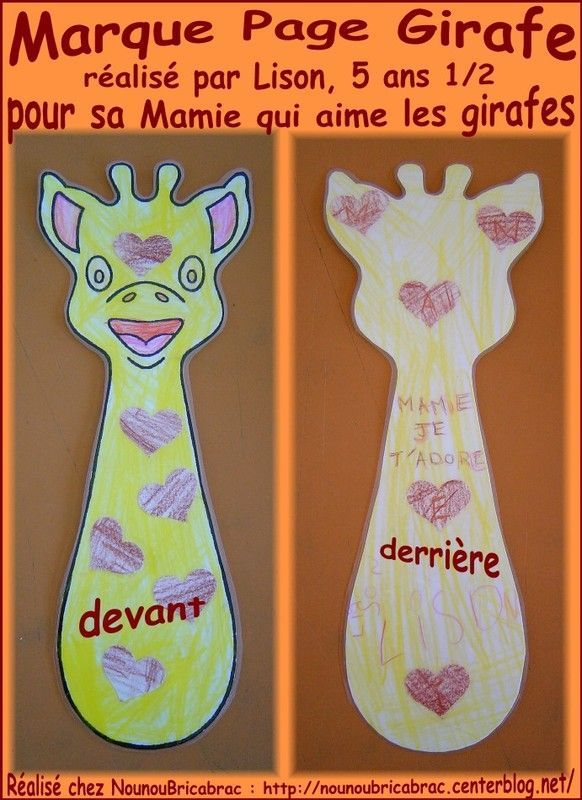 Marque Page en forme de Girafe ralis par Lison
