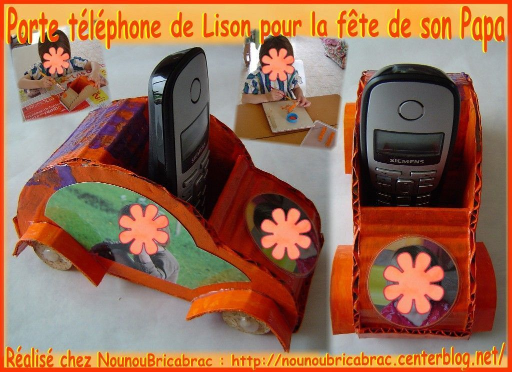 porte t l phone 4 de lison pour la f te de son papa bricolage original f te des p res. Black Bedroom Furniture Sets. Home Design Ideas